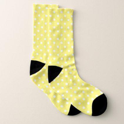 Yellow Polka Dot Socks - trendy gifts cool gift ideas customize
