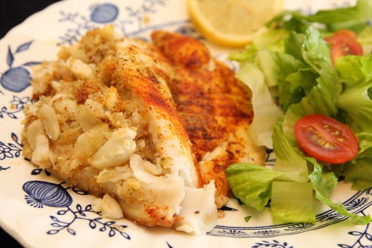 Crab Stuffed Tilapia Recipe Main Dishes with lump crab meat, butter, seasoned bread crumbs, garlic, pepper jack, lemon juice, dill, salt, pepper, talapia, butter, paprika, dill, salt, pepper
