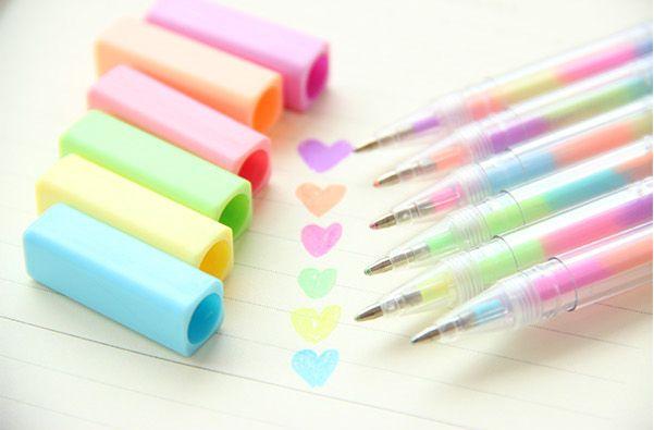 bubble-snowflakes:  Pastel Fluorescent Pen
