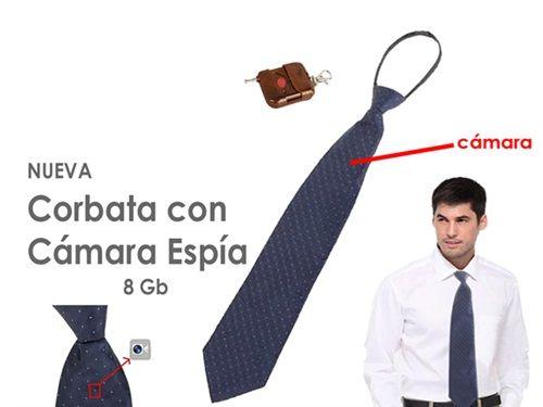 Corbata con Cámara Espía Oculta 8gb Micrófono y Control Remoto