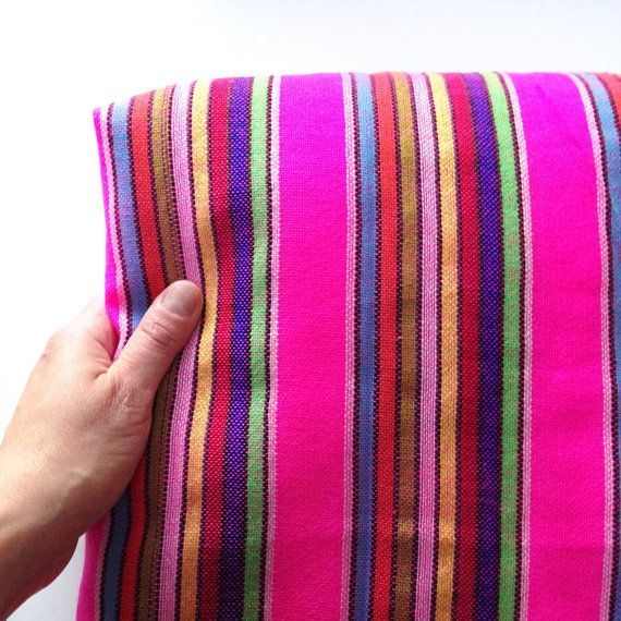 Hot Pink Mexican Fabric One Yard Aztec Tribal by NellywithWings