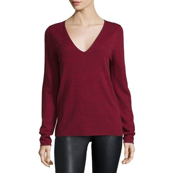 Zadig & Voltaire Melange V-Neck Pullover Sweater ($136) ❤ liked on Polyvore featuring tops, sweaters, rouge, v neck sweater, long sleeve sequin top, v-neck pullover sweater, v-neck sweater and elbow patch sweater