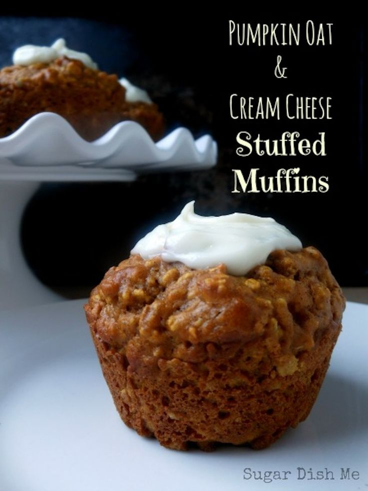 Pumpkin Oat and Cream Cheese Stuffed Muffins - Sugar Dish Me