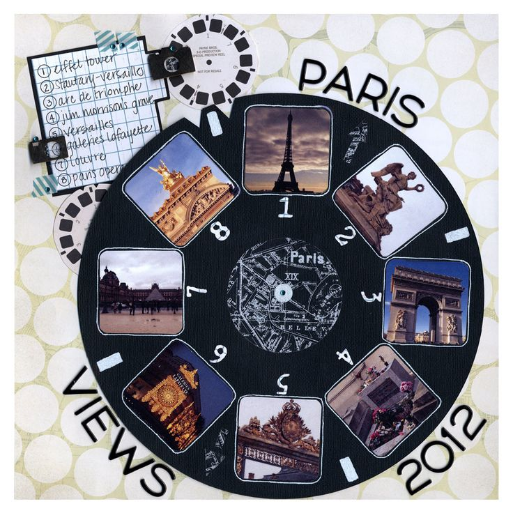 #papercraft #scrapbook #layout. Reminds me of the viewmaster reels: travel scrapbook layout Paris Views