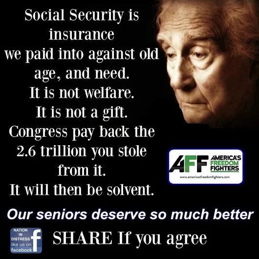Social Security is NOT an Entitlement! Pay like the Money Republicans take to do their job and protect the American people!