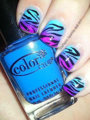 Southern Sparkle Nail Art: Neon Zebra Gradient