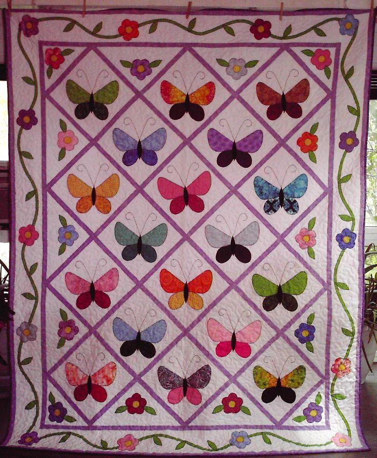 Free Baby Applique Quilt Pattern Applique Butterflies Quilting Pinterest Beautiful ...