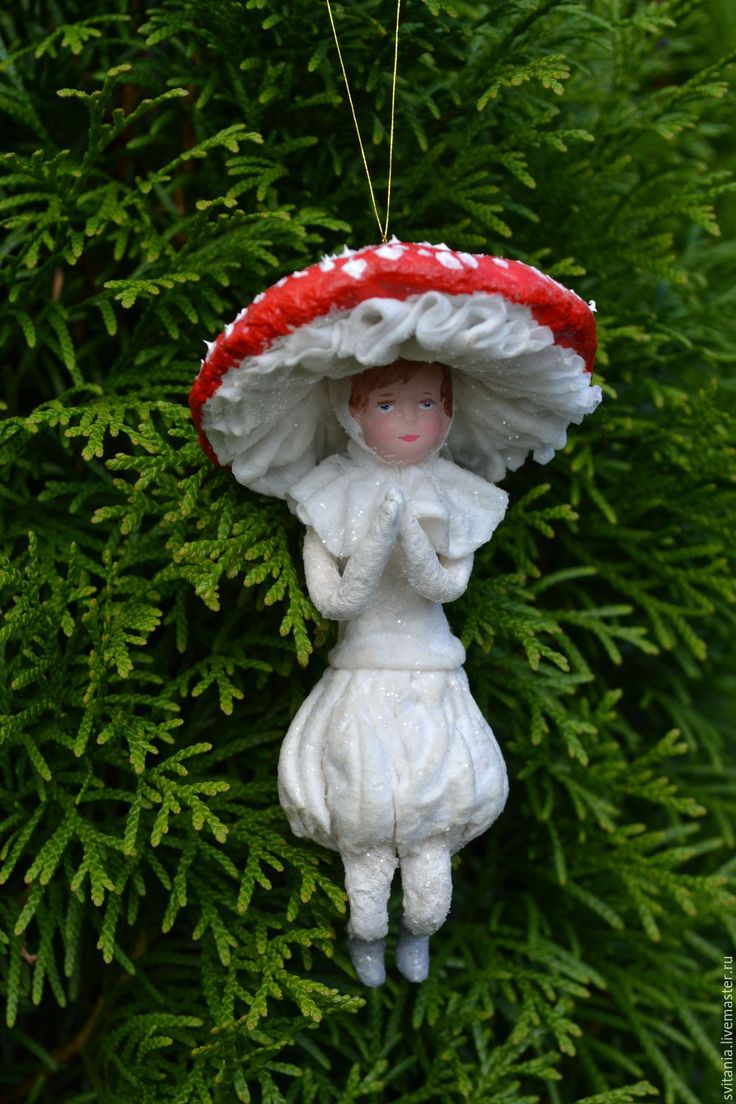Купить Ватная елочная игрушка Мухоморчик - ватная игрушка, ватное папье-маше, елочные игрушки