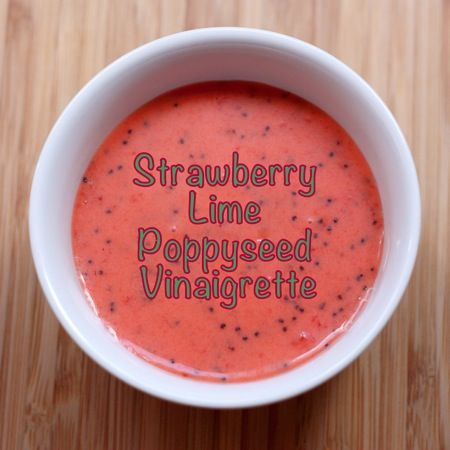 Strawberry Lime Poppyseed Vinaigrette is a simple sweet and tangy salad dressing made from fresh strawberries. The gluten free salad dressing recipe is here