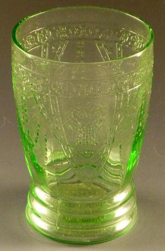 Depression Glass Georgian Lovebirds Green 10 oz Water Tumbler Federal Drinking