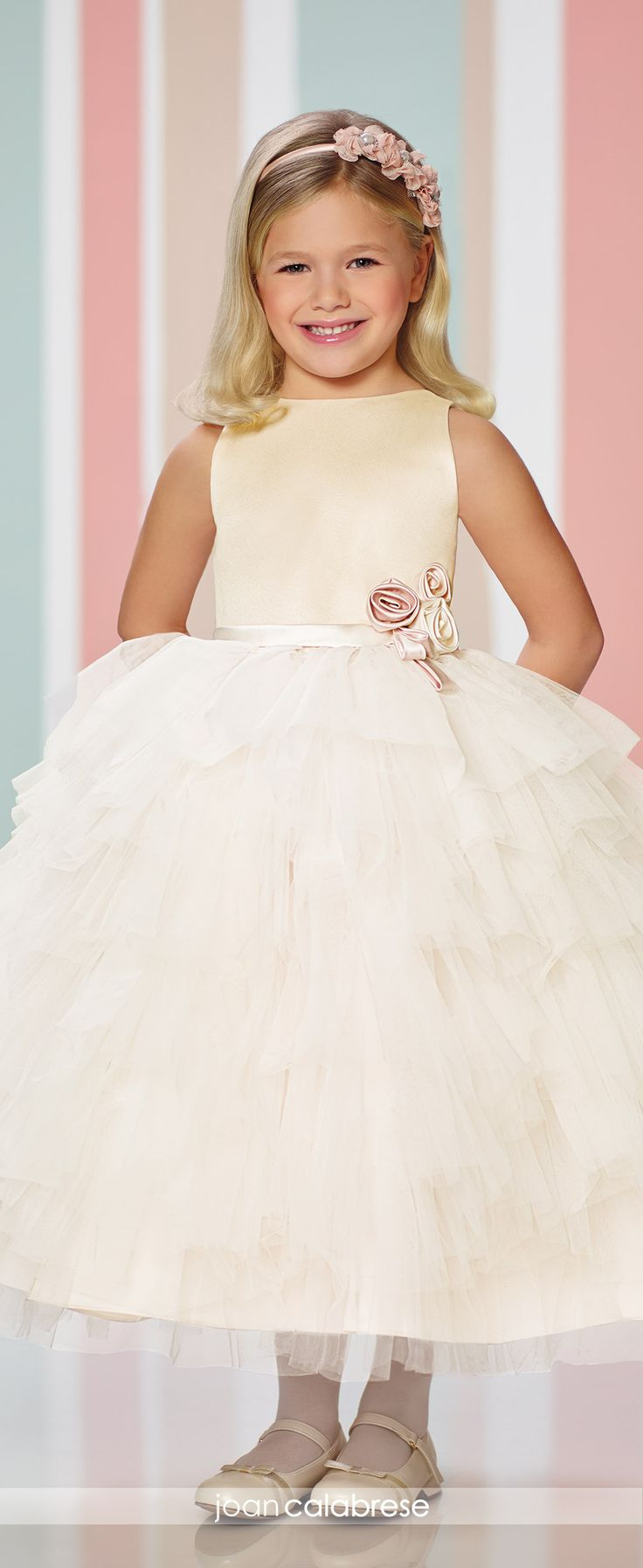 Joan Calabrese for Mon Cheri - Fall 2016 - Style No. 216307 - ruffled skirt flower girl dress with sleeveless satin bodice