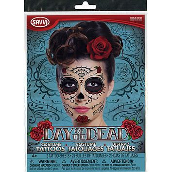 Day Of The Dead Temporary Face Tattoos | from Hot Topic