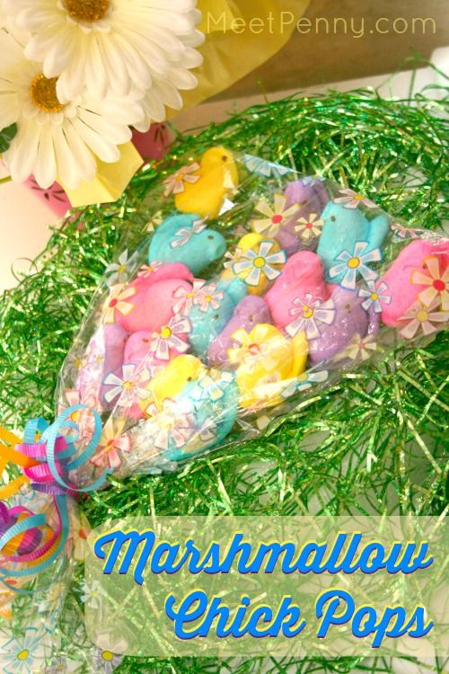 The kids could make these! Cute and easy peeps-inspired chick marshmallow pops. Great idea for stuffing an Easter basket, putting in a bouquet as a hostess gift, or to sell as a fundraiser.