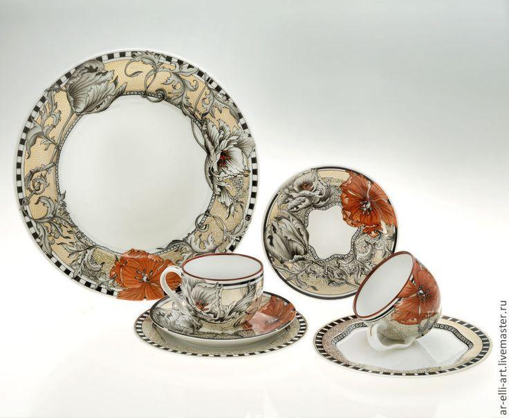 """Купить Фарфоровый чайный набор tet-a tet """"Фауст"""" - разноцветный, фарфоровая посуда"""