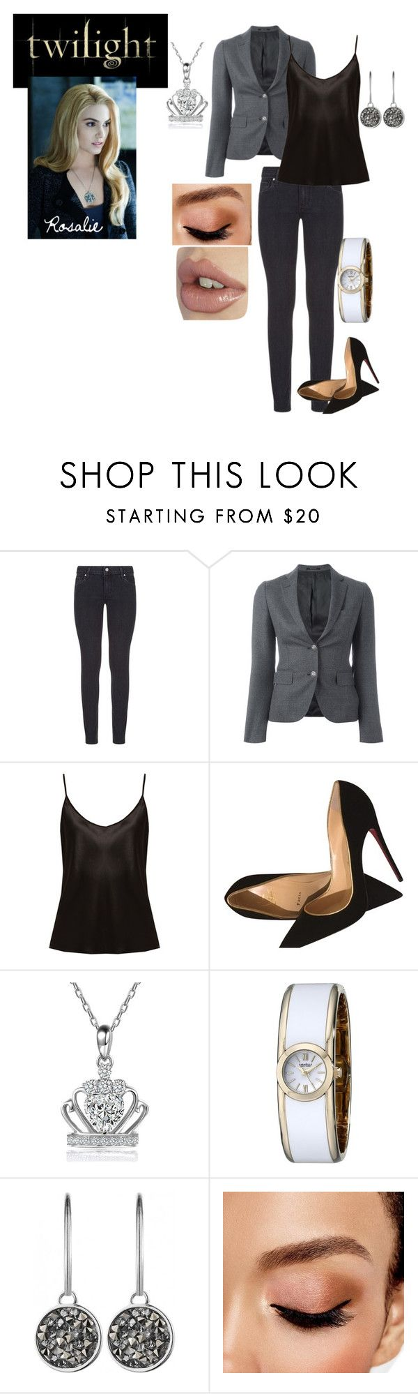 """Twilight's Rosalie hale"" by chicchivy on Polyvore featuring Paige Denim, Tagliatore, La Perla, Christian Louboutin, Caravelle by Bulova, Dyrberg/Kern and Avon"