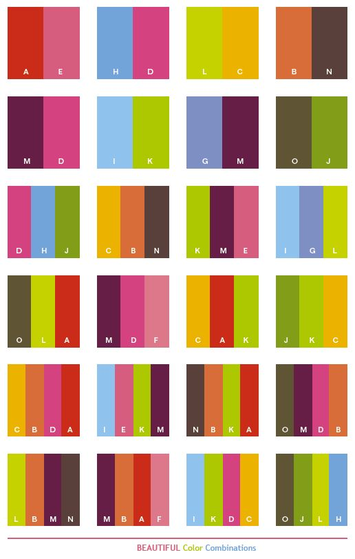 Great Color Combinations | Beautiful color schemes, color combinations, color palettes for print ...