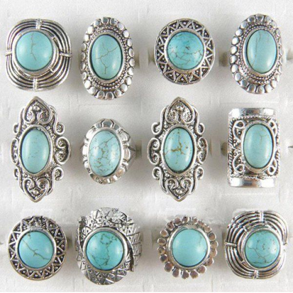 turquoise + silver rings