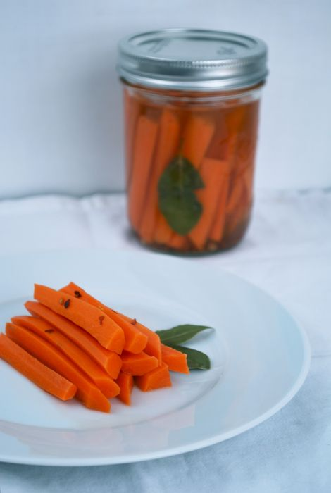 Quick Pickled Carrots  makes 3 pints jars of pickled carrots    1 lb. of carrots, peeled. sliced into 4″ lengths and quartered  2 cups water  2 cups apple cider vinegar  2 tablespoons salt  2 tablespoons sugar  1 teaspoon brown mustard seeds  8 bay leaves  10 whole cloves  1/4 teaspoon red pepper flakes  pinch celery seed  4-6 smashed garlic cloves or a quartered onion (optional)