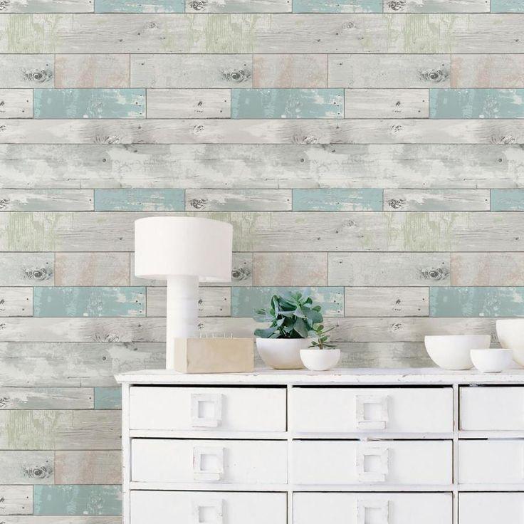Beshears Reclaimed Wood Plan 18 L X 20 5 W Peel And Stick Wallpaper Roll Distressed Wood Wallpaper Wood Wallpaper Vinyl Wall Panels