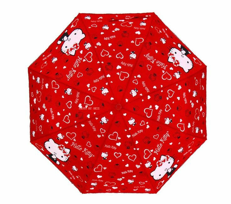 Hello Kitty Umbrella 3 Fold Automatic Auto Button Woman Lady Child Girl Red