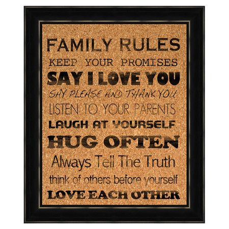 Family Rules Corkboard.