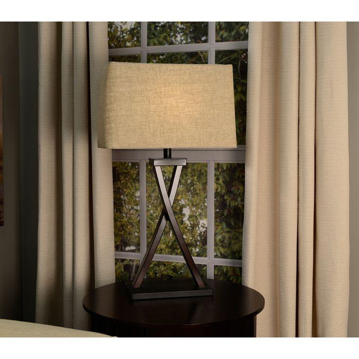allen roth 10in x 16in tan linen fabric rectangular lamp shade sh2912 - Rectangular Lamp Shades
