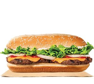 Our Extra Long Cheeseburger features two beef patties topped with freshly cut onions, crisp iceburg lettuce, ketchup, melted American cheese, and a creamy mayonnaise spread all served on a warm toasted hoagie bun.
