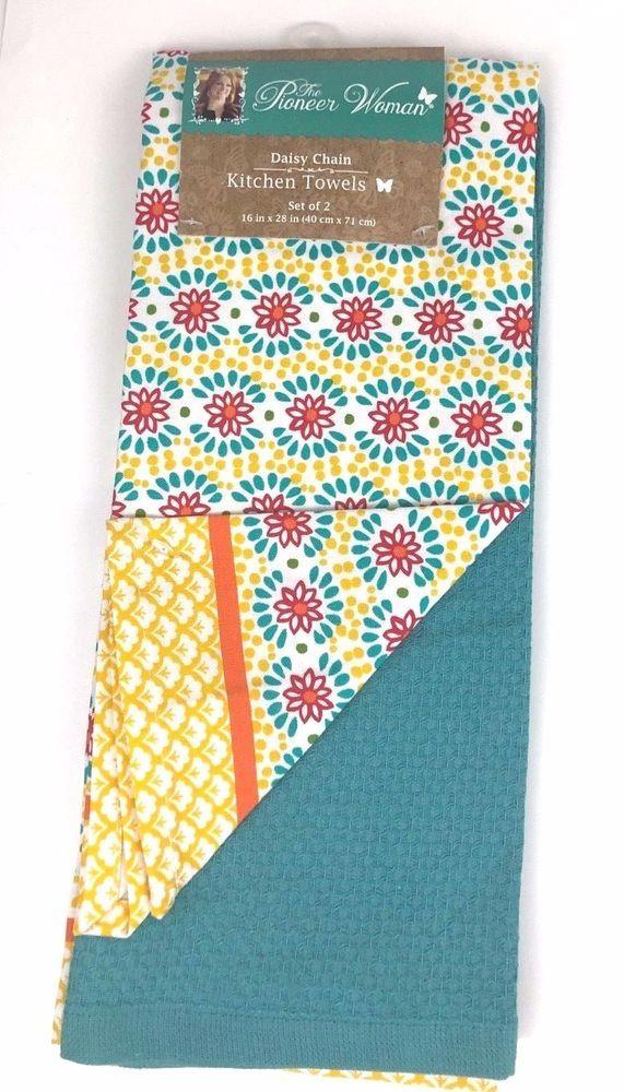 2-Pack Pioneer Woman Daisy Chain Kitchen Dish Tea Towels ...