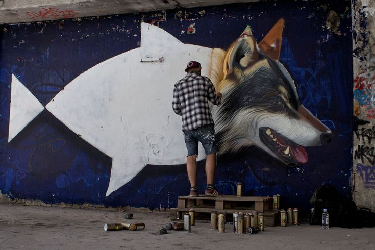 Croatian painterLonacis currently at home where he recently completed this new mural somewhere on the streets of Zagreb, Croatia.