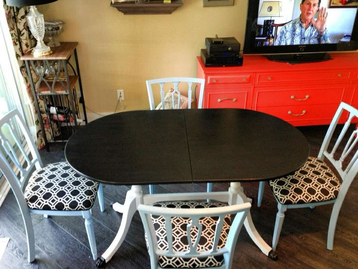 Black and white table with blue chairs $450 set