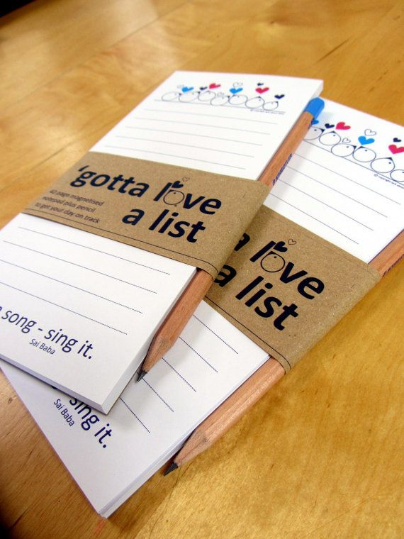 Gotta Love a List, handy magnetic notepad and pencil gift pack by Lark About