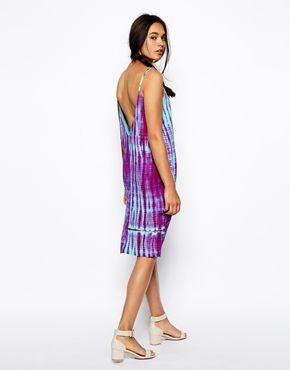 Immagine 2 di ASOS - Vestito a canotta tie-dye con inserti in pizzo