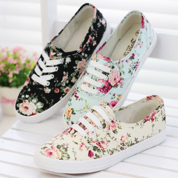 fresh new 2014 canvas shoes female casual sneaker low flat cotton made lazy shoe single shoes flower printed platform  women 517-inFlats fro...
