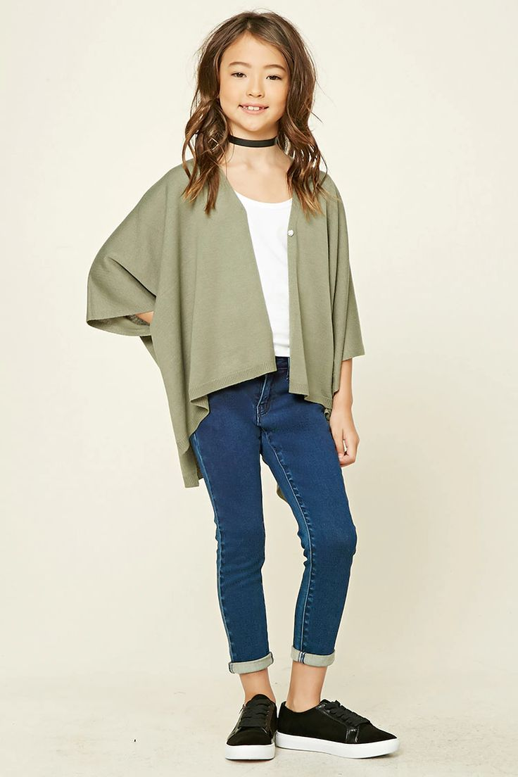Forever 21 Girls - A knit sweater poncho featuring a draped open-front with a single snap-button closure, 3/4 dolman sleeves, and a side-split hem.