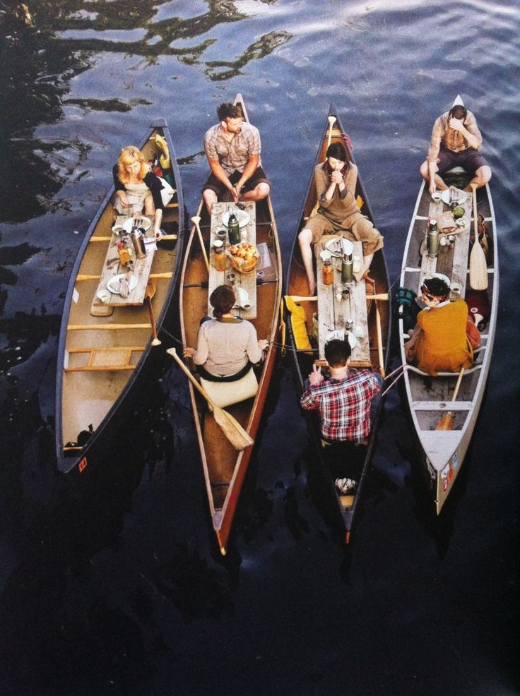 canoe dinner party. i don't know if this happens in real life, but it looks amazing.