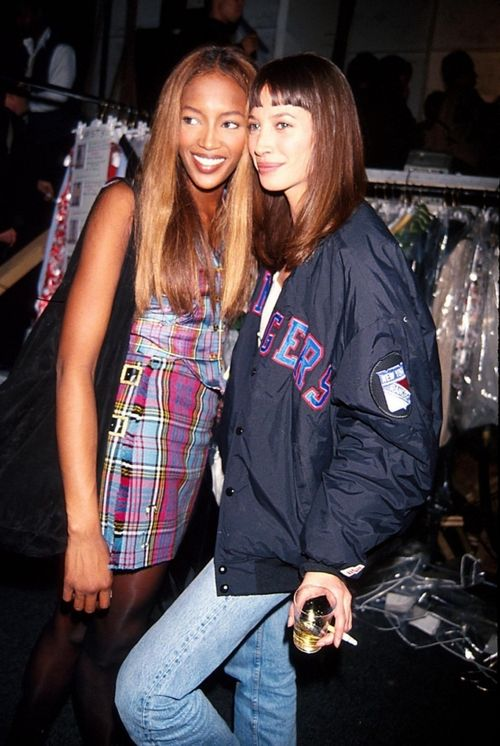 Naomi Campbell and Christy Turlington backstage at Isaac Mizrahi, 1993