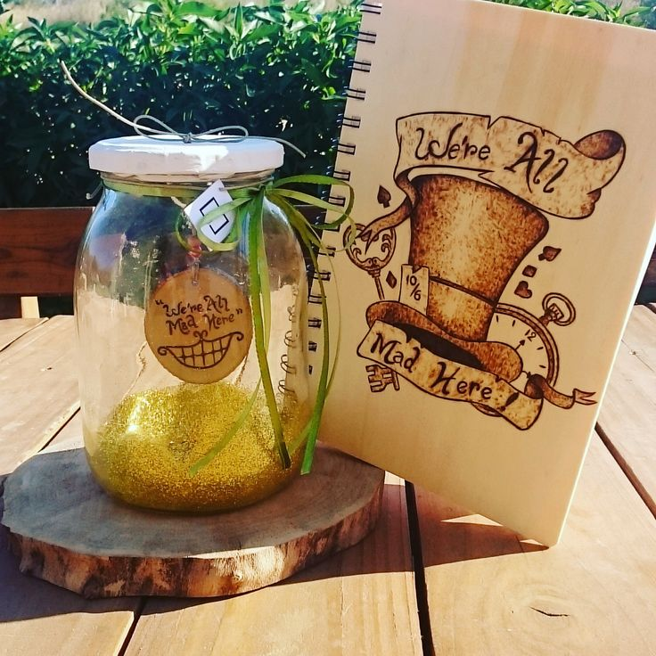"""""""We're All Mad Here"""" (inspired by Alice In Wonderland) wooden notebook and wooden keyholder made with pyrography by thecreativehut.gr"""