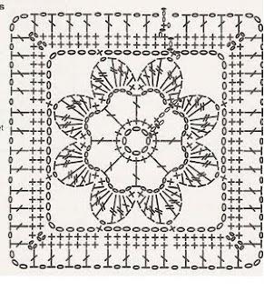 Crochet flower motif diagram.