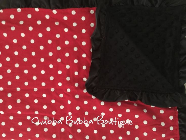 These are Adorable Soft Blankets They are sooo soft With reversable Red White Polka Dot  Print   on one Side and Black Microfibre on the other, finished off with Red Ruffle 77cm x 77cm   **Please Email Order Number and First Name Embroidery Request to info@chubbabubbaboutique.com Immediately after payment**