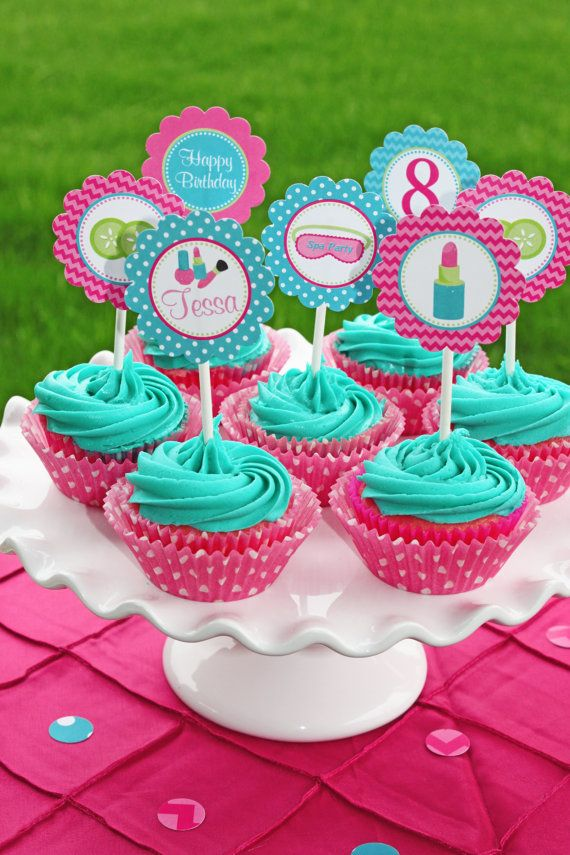 Girls Spa Birthday Party PRINTABLE Cupcake Toppers pedi manicure facials  pink teal lime green DIY personalized