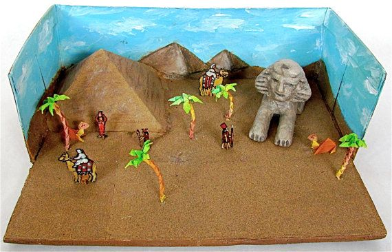 Ancient Egypt Shoebox Diorama Child's Naive Art by lion2833, $10.00