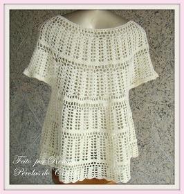 * Pérolas do Crochet: Bata de Croche e flores de croche: Crochet Blouse
