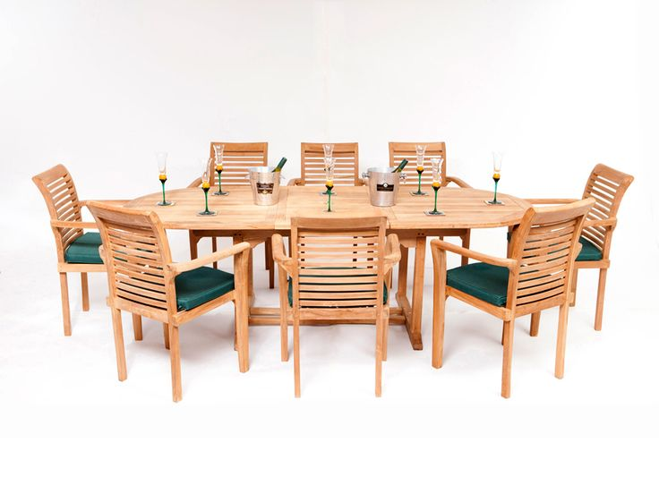 Our best selling garden teak table and chair set, this Hampshire Teak Garden Furniture Set with an oval extending table (180cms - 240cms) and stacking chairs is ideal for any medium or large size patio or garden.  The Hampshire Teak Table & Chair Set consists of: 1 x Teak Oval Extending Table 8 x Teak Stacking Chairs 8 x Seat Cushions (Green)
