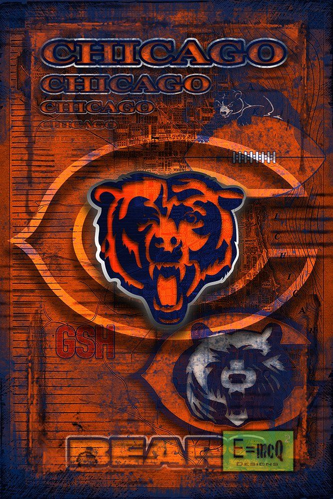 Chicago Bears Football Poster, Chicago Bears Layered Man Cave Gift, NF                      – McQDesign