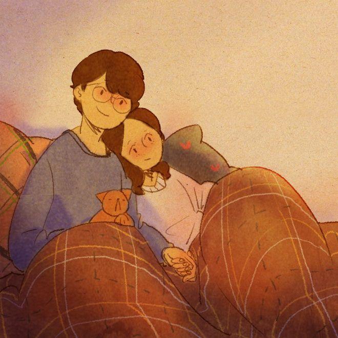 A South Korean artist describes the life of a couple through adorable illustrations
