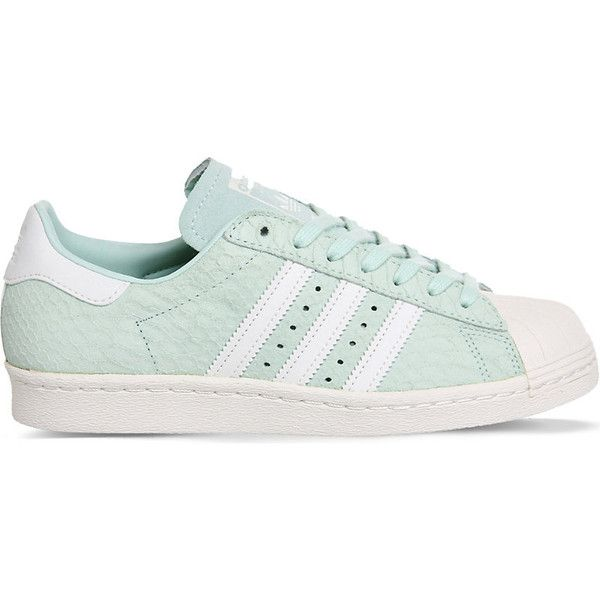Adidas Superstar 80s leather trainers ($100) ❤ liked on Polyvore featuring shoes, sneakers, summer sneakers, 80s sneakers, summer shoes, green sneakers and leather shoes