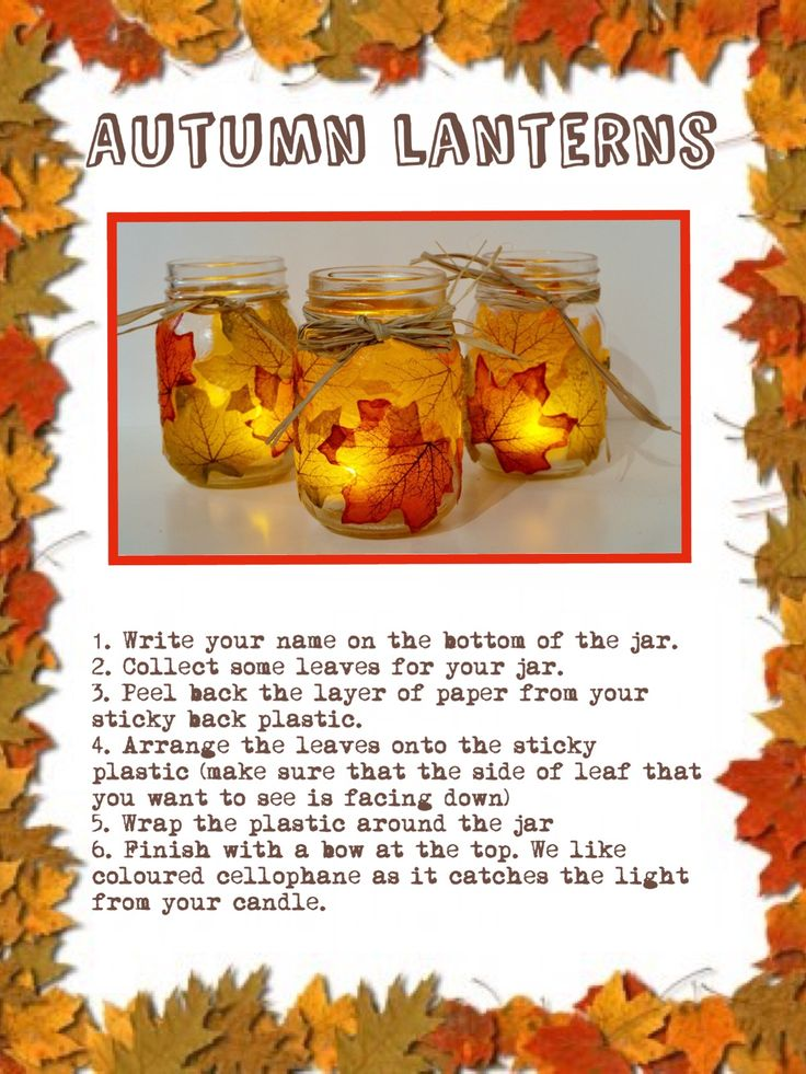 Fall Craft Ideas For Kids Pinterest Part - 39: A Lovely Way To Recycle Old Glass Jars. Using Stick Back Plastic Makes It  Mess. Glass JarsFall CraftsAutumn FallPreschoolReceptionKid ...