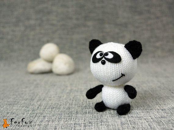 Stuffed panda panda bear knitted panda plush panda by FerFoxDesign