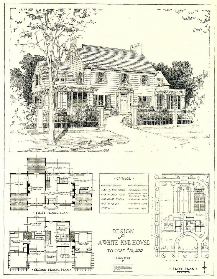 1917 architectural design for a white pine house costing