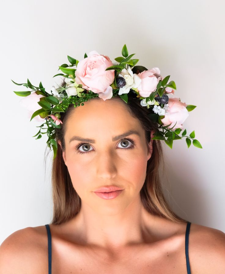 Mint and Melon Silk Flower Crowns Wedding Accessories Inspo 2017 2018 - Pink Peonies
